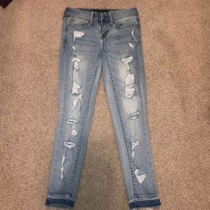 aeropostale cropped ripped jeans size 000